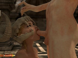 Filthy 3D demon treats a sensual big boobed blonde - Picture 3