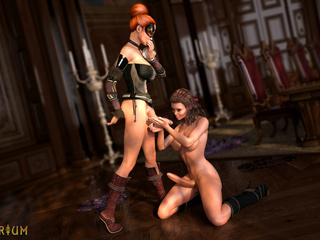 Two shemales with perfect bodies bangs in the castle - Picture 2