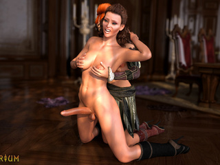 Two shemales with perfect bodies bangs in the castle - Picture 4