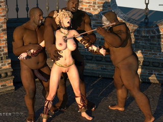 Insane 3D sex with three BBCs and a busty blondie - Picture 6