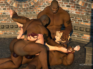 Brutal interracial 3D action ends with multiple - Picture 5