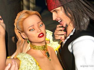 Obedient princesses have nasty sex with 3D pirates - Picture 1