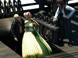 Crazy 3D pirates pounds two busty interracial girls - Picture 1