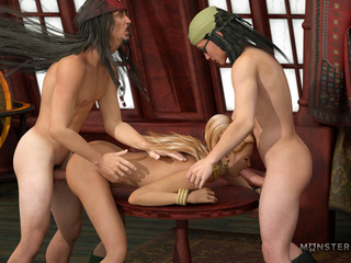 Crazy 3D pirates pounds two busty interracial girls - Picture 2