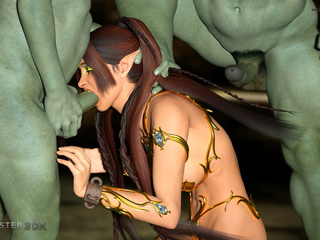 Busty brunette and two insanely nasty green demons - Picture 2