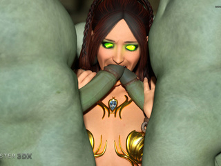 Muscled 3D monsters double the pleasure of a brunette - Picture 3