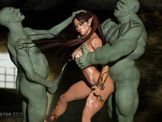 Muscled 3D monsters double the pleasure of a brunette - Picture 6