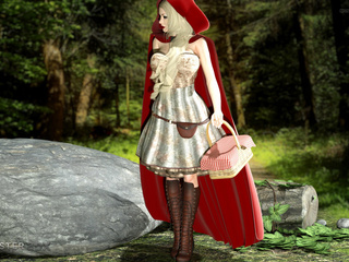 Busty Little Red Riding Hood gets DPed by the wolfs - Picture 1