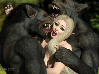 Angry and dirty 3D wolfs bangs a sexy busty blondie - Picture 4