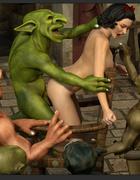 Seven nasty demons pounds a sex-addicted busty brunette