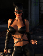 Super-woman and cat-woman with cock have awesome 3D sex