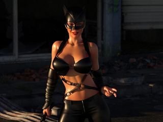 Super-woman and cat-woman with cock have awesome 3D - Picture 1