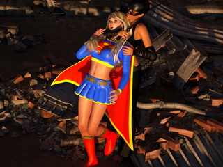 Super-woman and cat-woman with cock have awesome 3D - Picture 2