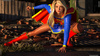 Big-dicked cat-woman impaled a horny super-girl