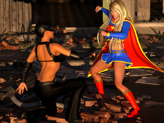 Big-dicked cat-woman impaled a horny super-girl - Picture 2