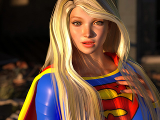 3D cat-woman cums on the face of a lustful super-girl - Picture 1