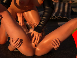 3D cat-woman cums on the face of a lustful super-girl - Picture 4