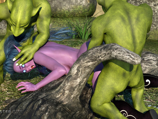 Purple pixie have nasty group sex with green - Picture 2