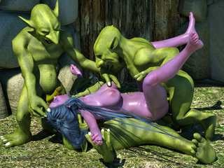 Purple pixie have nasty group sex with green - Picture 5