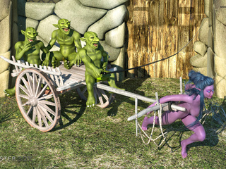 Submissive purple pixie impaled by small green demons - Picture 1