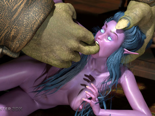 Submissive purple pixie impaled by small green demons - Picture 5