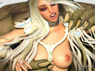 Busty blonde licks a wide-opened green pussy - Picture 6