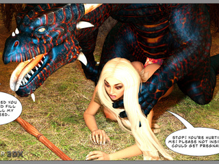 3D dragon with candent cock bangs a busty blonde - Picture 2