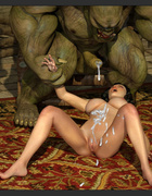 Giant muscled beast cums on the big boobs of a princess