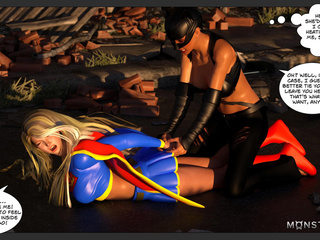 The hottest cat-woman ladyboy drills a super-girl - Picture 3