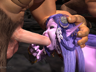 Brutal muscled 3D demons impaled a purple pixie - Picture 2