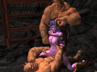 Brutal muscled 3D demons impaled a purple pixie - Picture 4