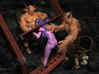 Brutal muscled 3D demons impaled a purple pixie - Picture 5