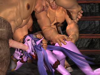 Slender purple pixie gets banged by two muscled - Picture 2