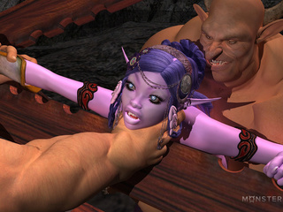 Slender purple pixie gets banged by two muscled - Picture 3
