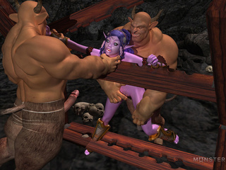 Slender purple pixie gets banged by two muscled - Picture 4