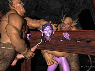 Slender purple pixie gets banged by two muscled - Picture 6
