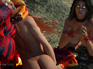 Magma monster bangs two outstandingly slender babes - Picture 1