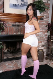 brunette cutie wearing white