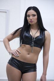 black leather brunette shows