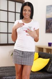 striped skirt brunette gets