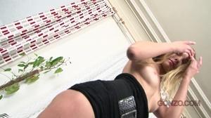 Tight black dress brunette enjoys anal gape on a blue couch - XXXonXXX - Pic 2