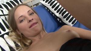 Tight black dress brunette enjoys anal gape on a blue couch - XXXonXXX - Pic 4