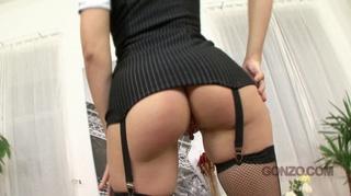 stockings-clad redhead enjoys anal