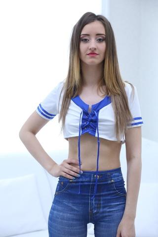 white blue top brunette