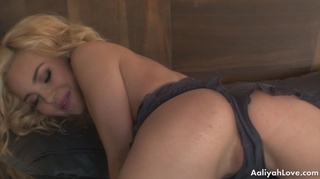 blonde with blindfold and