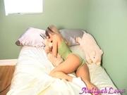 dotted green panties blonde