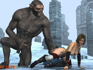 Insane 3D gorilla cums on the hottest princess - Picture 3