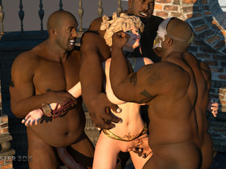 Dick-loving 3D blonde and multiple black sausages - Picture 6