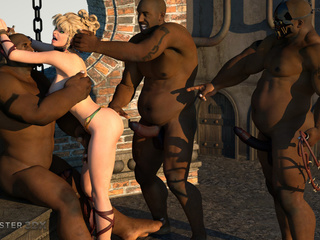 Three huge blacks dicks VS passionate young blonde - Picture 2