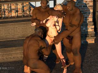 Three huge blacks dicks VS passionate young blonde - Picture 3